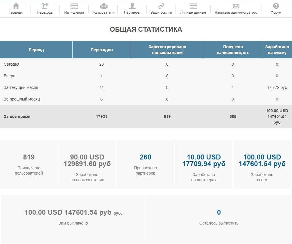 Вид главной страницы кабинета партнера на e-autopay