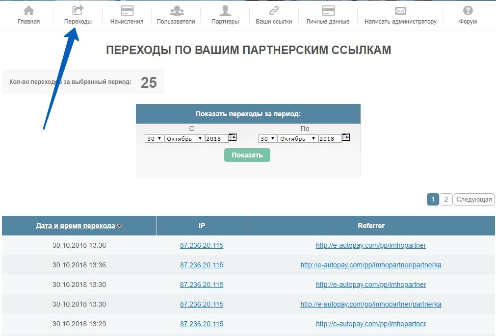 """Вид меню """"Переходы"""" кабинета партнера на e-autopay"""