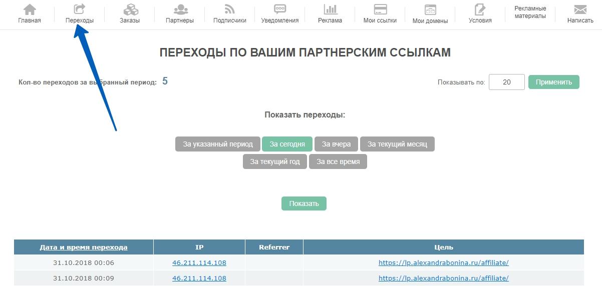 """Вид меню """"Переходы"""" кабинета партнера на сервисе e-autopay"""