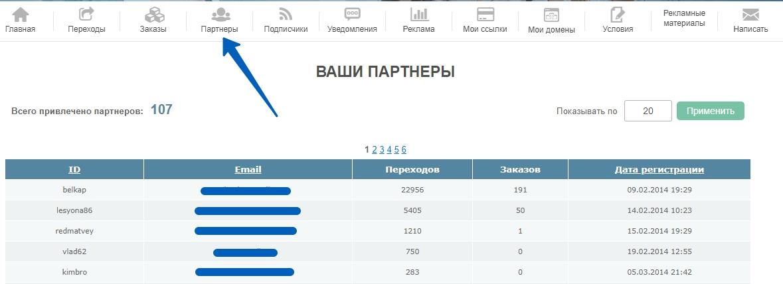 """Вид меню """"Партнеры"""" кабинета партнера на сервисе e-autopay"""