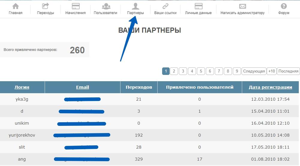 """Вид страницы """"Партнеры"""" кабинета партнера на е-автопэй"""